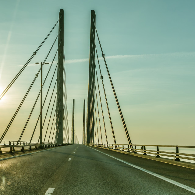 """Driving a car over the oresund bridge"" stock image"