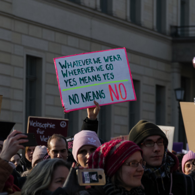 """""""Women are protesting for equal rights at the annual 'Women's March'in Berlin, Germany."""" stock image"""