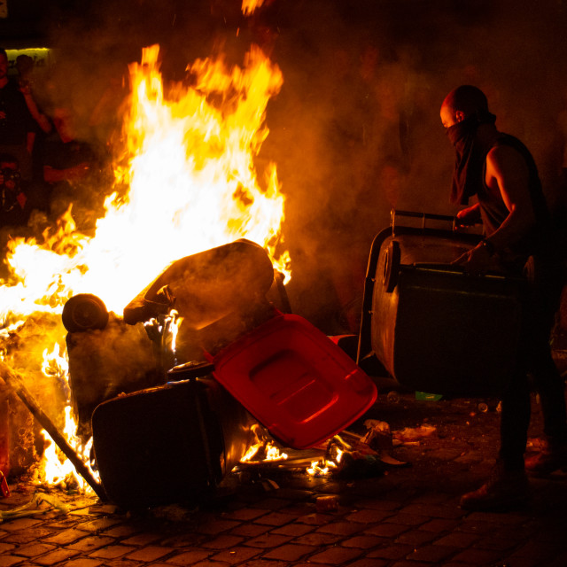 """""""Riots during the G20 Summit in Hamburg, Germany 2017"""" stock image"""
