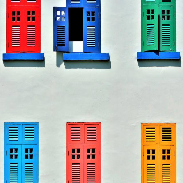 """Colourful Wooden Shutters"" stock image"