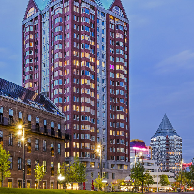 """Residential towers on Binnenrotte square"" stock image"