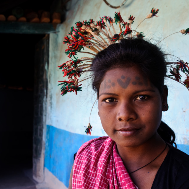 """Young woman from the Baiga tribe ( India)"" stock image"