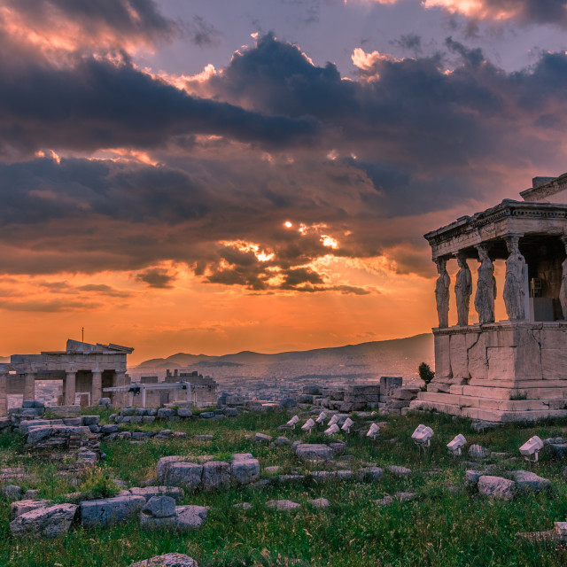 """Karyatides of Acropolis at sunset"" stock image"
