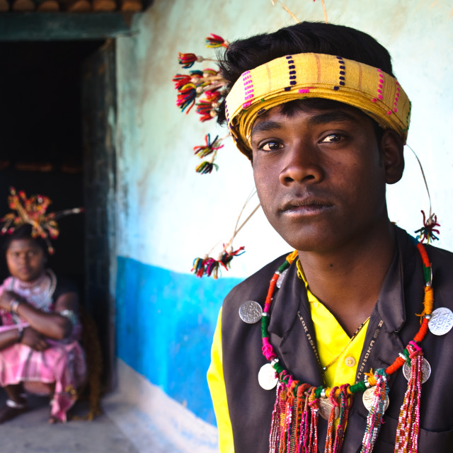 """Youth from the Baiga tribe ( India)"" stock image"