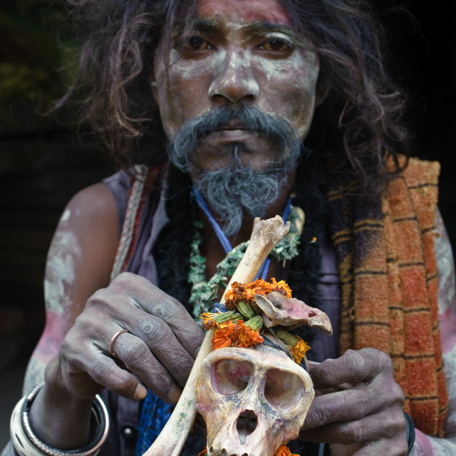 """Hindu ascetic from the Aghori sect ( India)"" stock image"