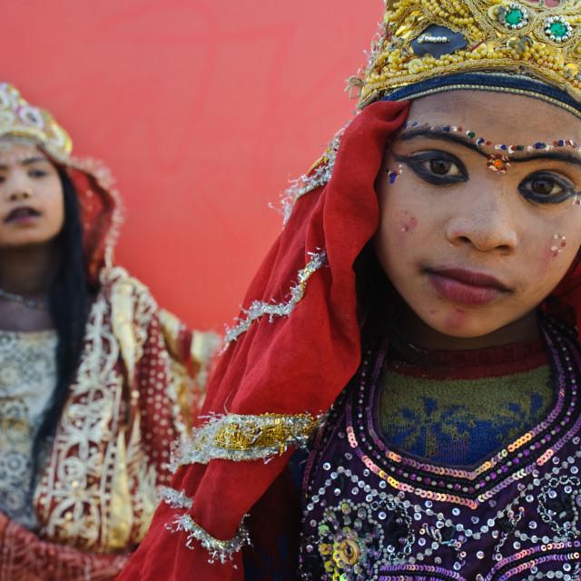 """""""Hindu girls impersonating the goddess Kali ( India)"""" stock image"""
