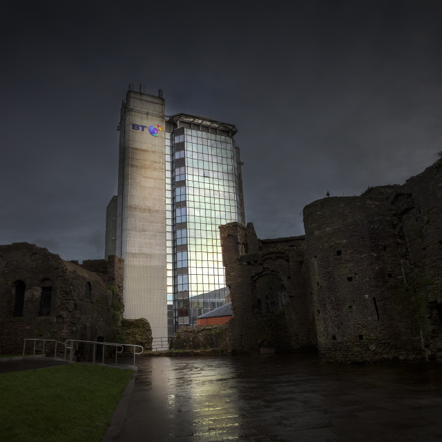 """Swansea castle and the BT Tower"" stock image"