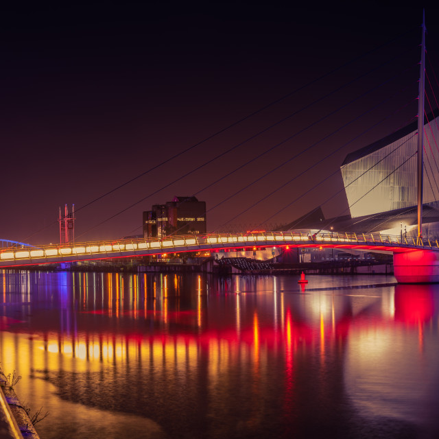"""Red light district, Salford Quays, Manchester"" stock image"