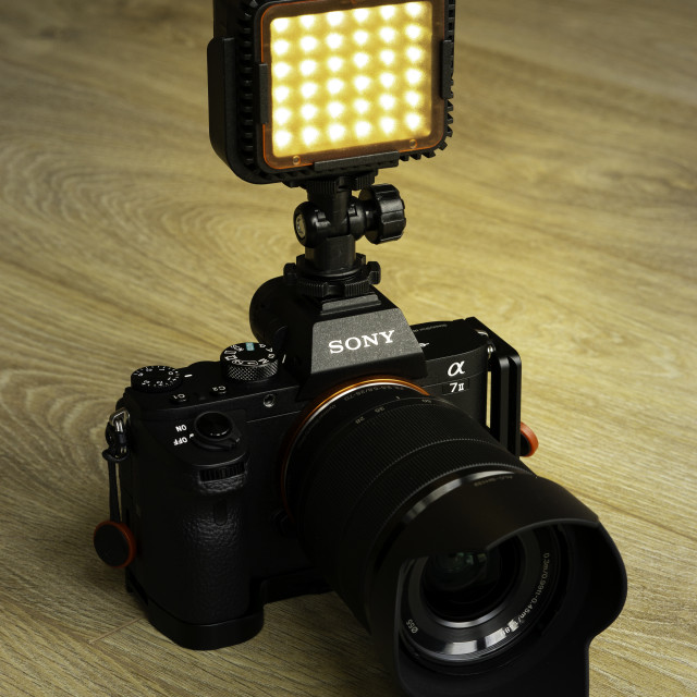 """""""Sony Camera with Video Light"""" stock image"""