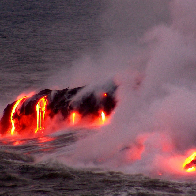 """""""Night entry of Kilauea Lava into the Pacific Ocean"""" stock image"""