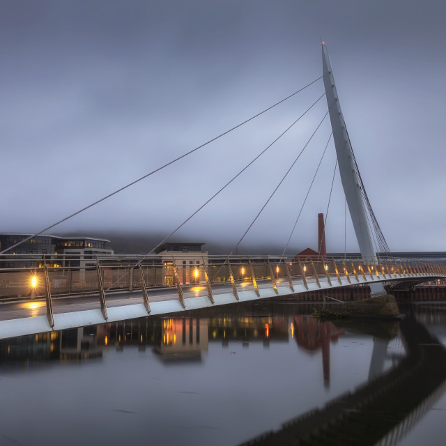 """Swansea Sail Bridge and Marina"" stock image"