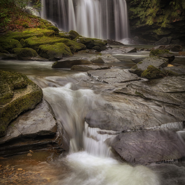 """Cwmdu waterfall on The Upper Clydach River"" stock image"