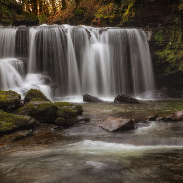"""Cwmdu waterfall in Pontardawe, Swansea"" stock image"