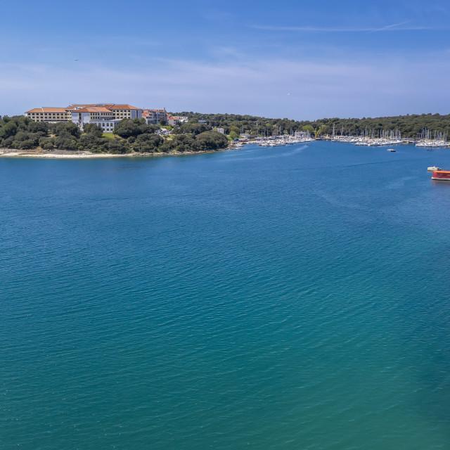 """Aerial shot of Verudela lagoon"" stock image"