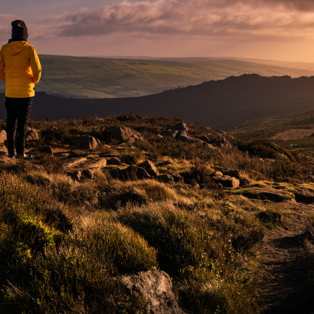 """Admiring the view over The Roaches"" stock image"
