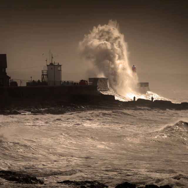 """Storm Graham at Porthcawl lighthouse"" stock image"