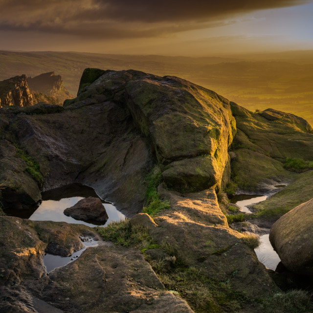 """Sunset on The Roaches"" stock image"