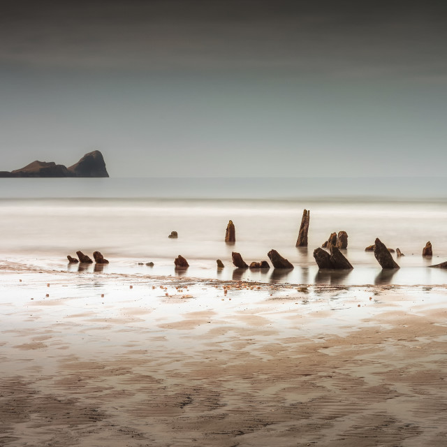 """The Helvetia at Rhossili Bay, South Wales UK"" stock image"