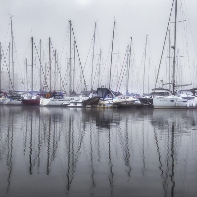 """""""Yachts in the fog"""" stock image"""