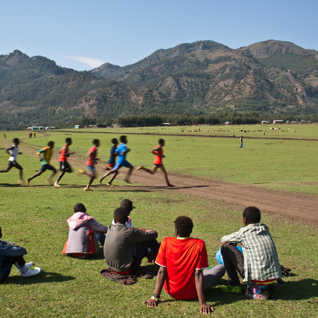 """Middle distance race at the local level ( Ethiopia)"" stock image"