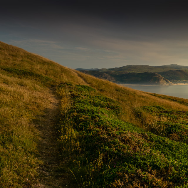 """Golden hour on The Great Orme, Llandudno"" stock image"
