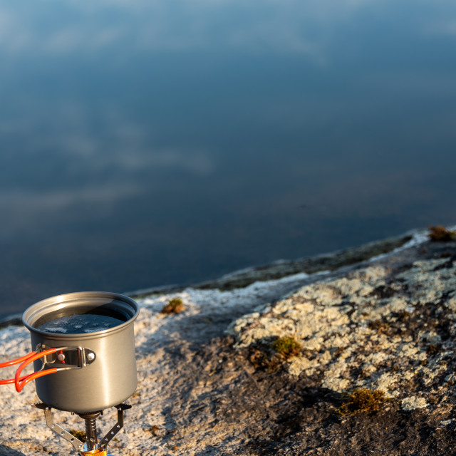 """""""Pot on camping stove"""" stock image"""