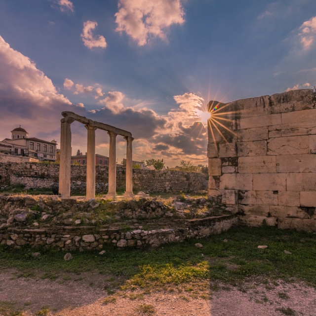 """Sunset in ancient Athens, Greece"" stock image"
