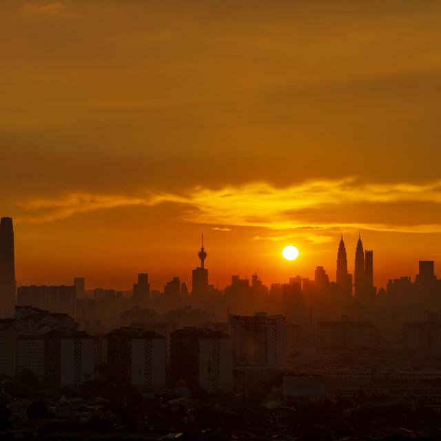"""""""Majestic sunset over downtown Kuala Lumpur"""" stock image"""