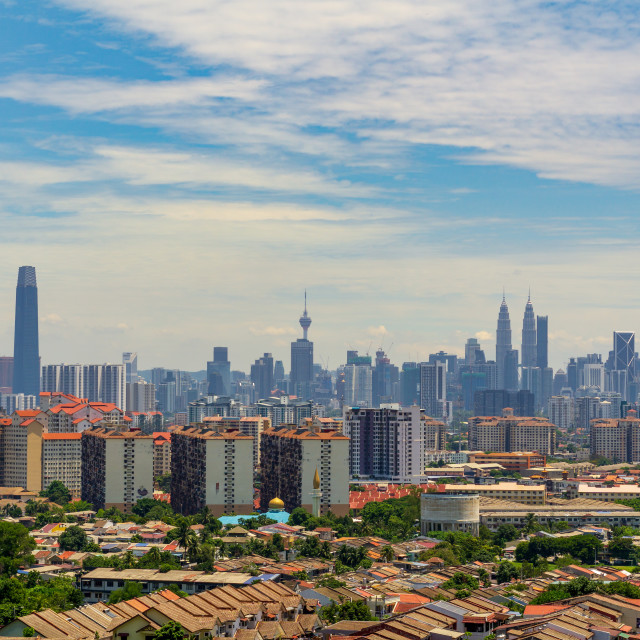 """""""A clear and windy day in Kuala Lumpur, capital of Malaysia."""" stock image"""