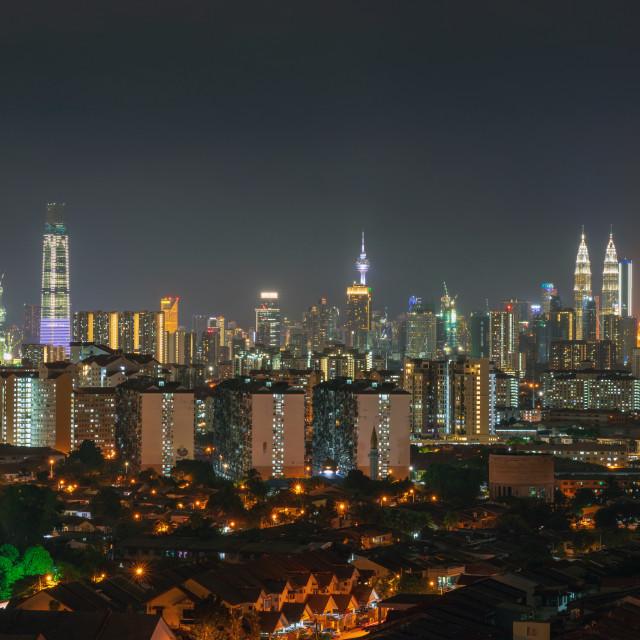 """Night view of downtown Kuala Lumpur"" stock image"