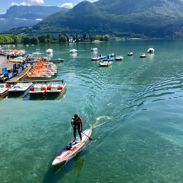 """Lake Annecy paddleboarding"" stock image"