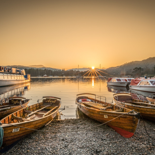 """Boats at Waterhead on Windermere"" stock image"