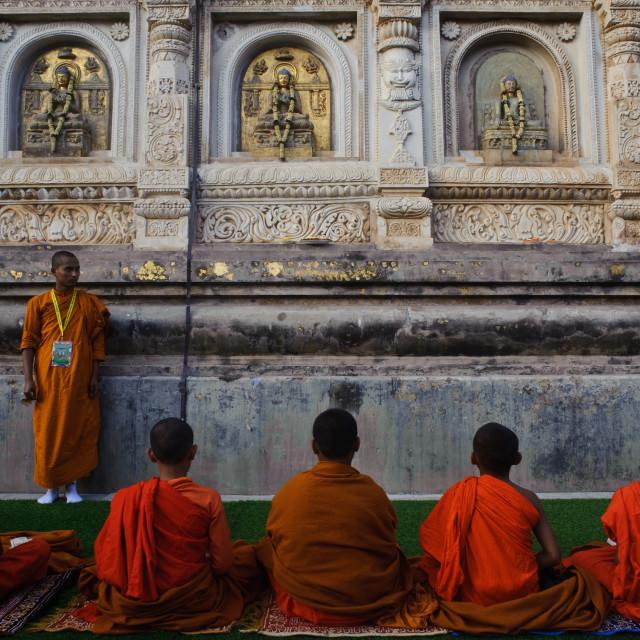 """""""Novice buddhist monks at the Mahabodhi temple ( India)"""" stock image"""