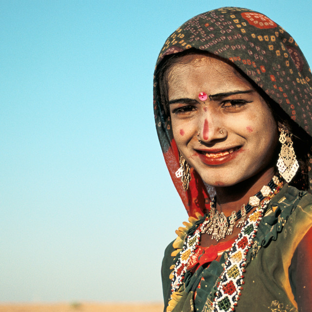 """Young woman in the Thar desert ( India)"" stock image"