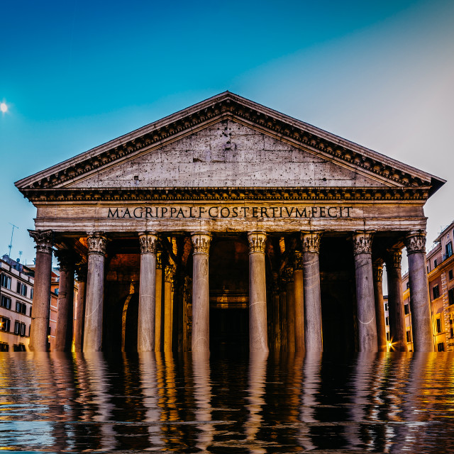"""""""Flooded pantheon in Rome, Italy - digital manipulation climate change concept"""" stock image"""