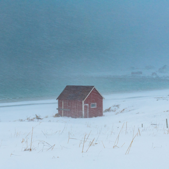"""Norwegian Cabin in a Blizzard"" stock image"