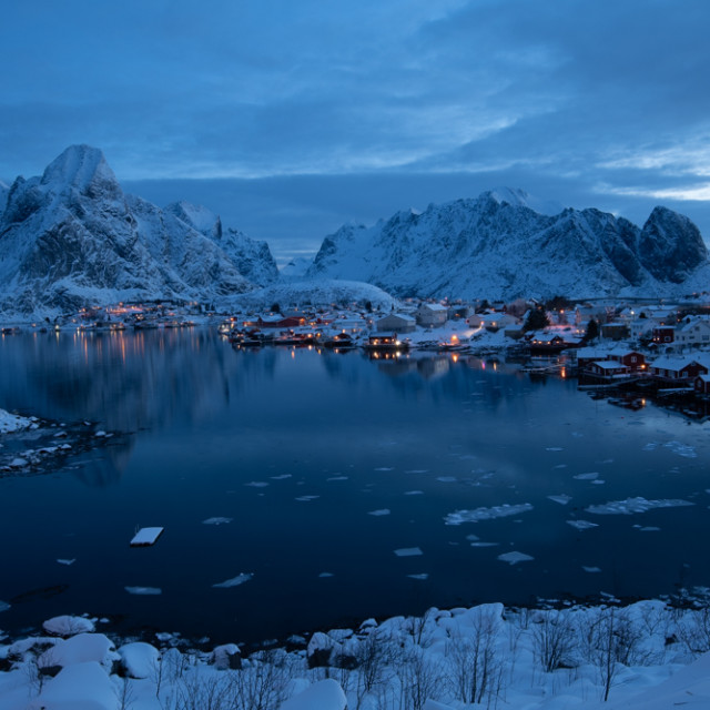 """Blue Hour, Reine, Norway"" stock image"