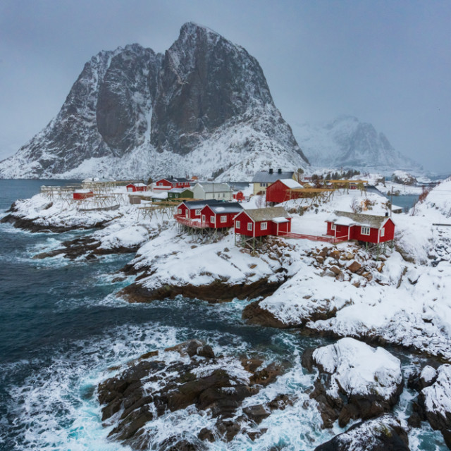 """""""Cabins in a Storm"""" stock image"""