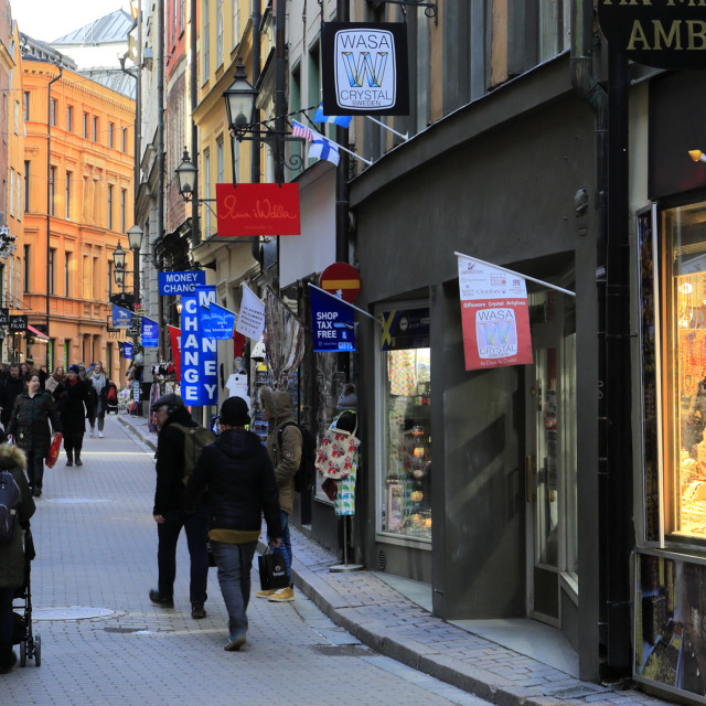 """Shops and buildings in the Gamla Stan, Stockholm City, Sweden, Europe"" stock image"