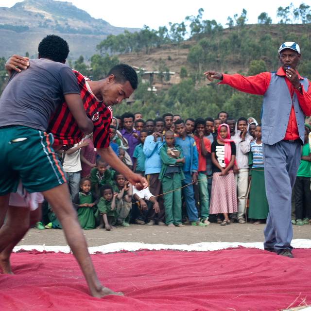 """Wrestling competition at the local level ( Ethiopia)"" stock image"