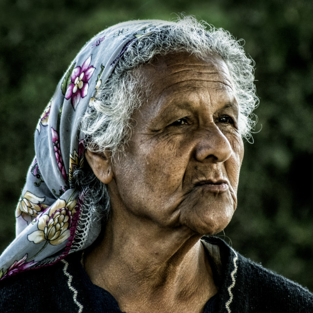 """""""Old muslim Turkish Cypriot woman with a head scarf looking thoughtfully"""" stock image"""
