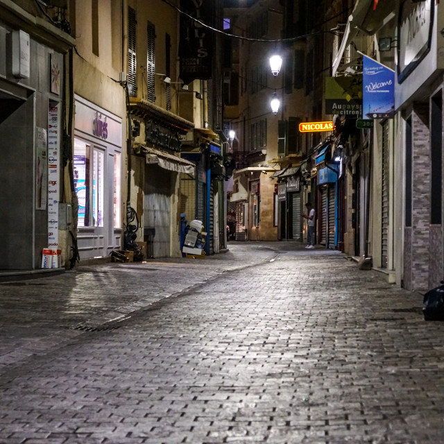 """""""NICE - APRIL 8 : Night view in Nice under twilight evening sky, France, on..."""" stock image"""