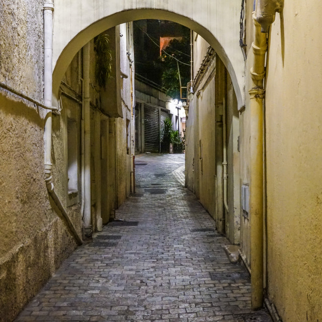 """""""Dark alley in old part of town"""" stock image"""