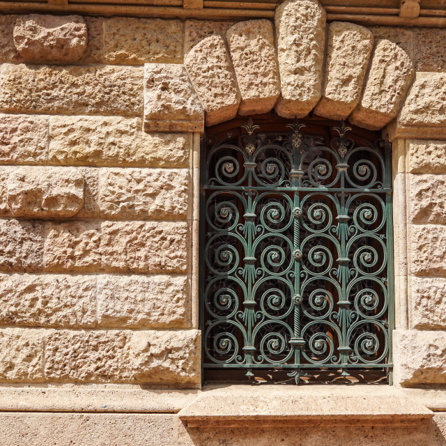 """""""Metal Grid For Window. Security Bars. House window iron security bars...."""" stock image"""
