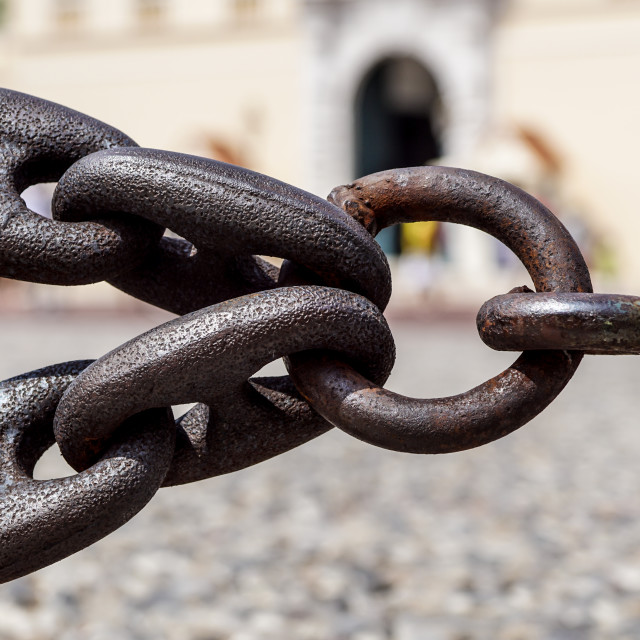 """""""Stainless steel chain links. Industrial metal background"""" stock image"""