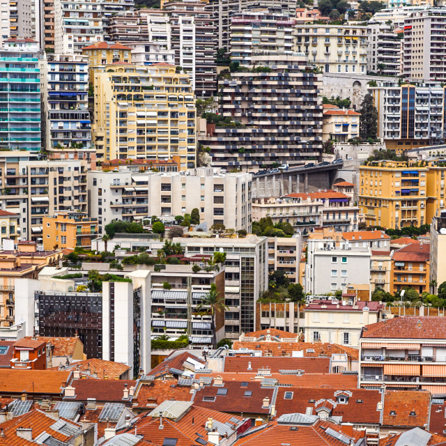 """""""Aerial view of traditional red house roofs at the Montecarlo Town Square,..."""" stock image"""