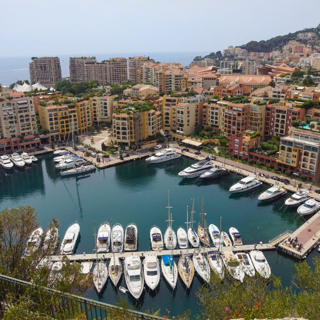 """""""Luxury yachts in the bay of Monaco, France"""" stock image"""