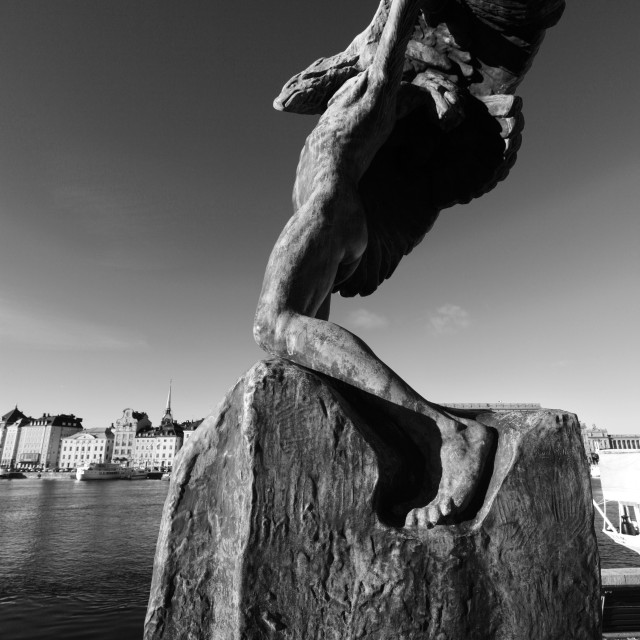 """The Man and Eagle sculpture, Baltic sea, Gamla Stan, Stockholm City, Sweden,..."" stock image"