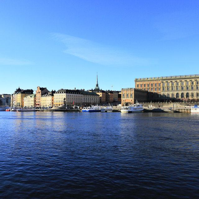 """View over the Baltic sea to the Gamla Stan, Stockholm City, Sweden, Europe"" stock image"
