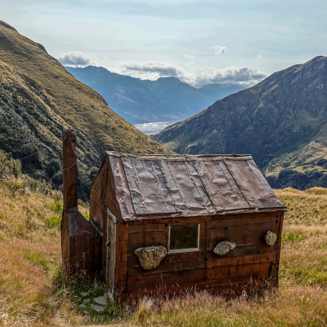 """Jean Hut, Whakaari Conservation Area"" stock image"